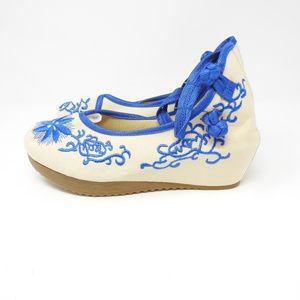 Shoes - Blue Cream Embroidered Tie Up Wedges Spain NWOT
